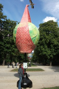 Looking at a giant brussel sprout sculpture in Brussels