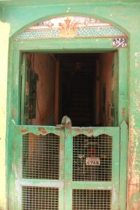 Front door of dwelling in the old part of Varanasi